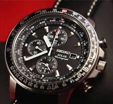Seiko Mens Solar Chronograph Pilots 100M Watch SSC009P3 Warranty,Box, RRP:£300