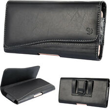 Black PU Leather Horizontal Holster Belt Clip Pouch Case Samsung Galaxy S7 Edge