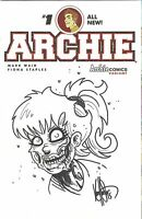 ARCHIE COMICS #1 BETTY AS ZOMBIE ORIGINAL ART SKETCH KEN HAESER DF COA