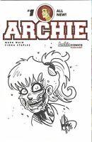 ARCHIE COMICS #1 BETTY AS ZOMBIE ORIGINAL ART SKETCH KEN HAESER DF COA