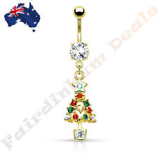 Jewelled Gold Ion Plated Belly Ring with Multi Gemmed Christmas Tree Dangle