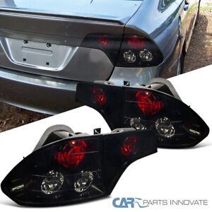 Glossy Black For Honda 06-11 Civic 4Dr Sedan Trunk Tail Lights Brake Rear Lamps