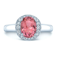 1.39 TCW 14k White Gold Oval Cut Pink Tourmaline Diamond Halo Ring Solitaire