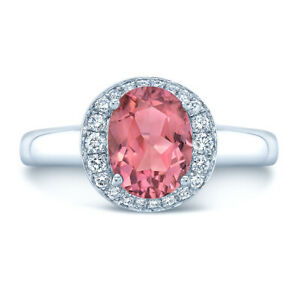 14k White Gold Oval Pink Tourmaline Diamond Halo Ring Solitaire Natural Classic