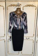 Batida Damas Negro/Multi pluma impresión estiramiento jersey Vestido Talla 10/12 Nuevo con etiquetas