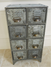 Industrial style vieilli métal 8 tiroirs meuble rétro vintage Gris de conservation
