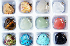 12 X MIXED~HEART~GEMSTONE~PENDANTS~22 x 21 x 6 MM