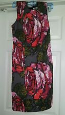 Womens Trina Turk Los Angeles Dress roses size 4 Small black red skirt summer