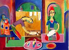 "ORIGINAL FOLK ART PAINTING ""LAVASH"" 2 women baking bread RUSSIAN ARMENIAN Artist"