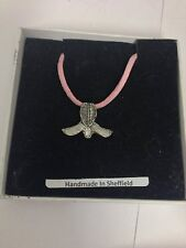 Kendo Mask Sport PP-SP16  Pewter Pendant on a PINK CORD Necklace