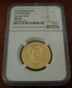US 2020 W Gold 1/2 oz $10 NGC MS69 First Spouse Series Barbara Bush