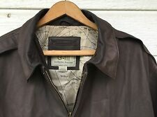 MENS BROWN SOFT 100% LEATHER G-III AUTHENTIC BOMBER JACKET LARGE G-3 MA34112