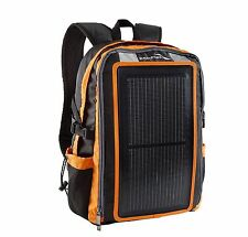 Solar Powered Backpack Charger USB Cable Power Panel Outdoor Orange
