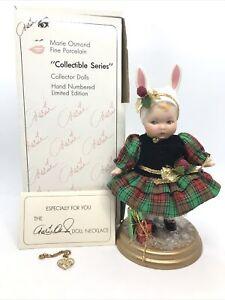 MARIE OSMOND BUNNY LOVE CHRISTMAS PORCELAIN DOLL&Necklace #C14642 Knickerbocker