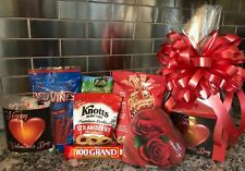Valentines Gift Basket / Box With Chocolates-Cookies-Candy Red Box & Red Bow