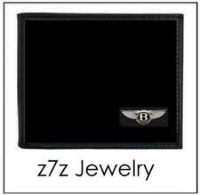 BENTLEY Emblem Wallet - bifold black leather w/ car auto logo medallion z7qq