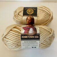 2 Skeins Lion Brand Hometown USA Yarn Los Angles Tan #6 Super Bulky