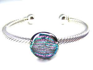 "Dichroic Glass Bracelet Silver Twist Cuff ADJUSTABLE Soft Pink Stripes 3/4"" 20mm"