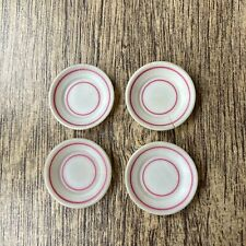 Sindy Doll 4 White Side Plates With Pink Line Pedigree Kitchen Accessories