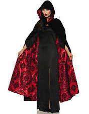 Vampire Witch Black Velvet Cape with Red Satin & Blk Embossed lining