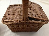 Wicker Double Hinged Lid Small Beach Picnic Basket