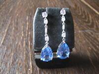 Traumhaft schöne Blautopas Ohrringe Hänger Art Deco Stil 925er Silber Zirkonia
