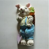 Porcelain Bunny Rabbit Figurine With Shovel Harvesting Carrots EUC
