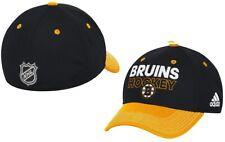 Boston Bruins NHL Adidas Black Two Tone Locker Room Hat Cap Men's Flex S/M