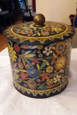 Vintage Tin Canister made in Holland lid with Knob Black enamel look embossed