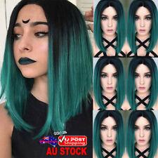 Women 14'' Bob Straight Green Black Ombre Hair Wig Synthetic Cosplay Party Wigs