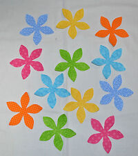 SET of 12 CALICO FLOWERS - DIE CUT/IRON ON