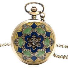Lady Vintage Pocket Watch Chain Fob Jade Crystal Case Quart Pendant Pocket Watch