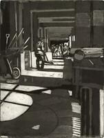 JILL SPANNER Aquatint Etching STREET SWEEPER IN CITY - CONTEMPORARY ART