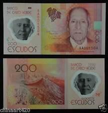 Cape Verde Polymer Plastic Banknote 200 Escudos 2014 UNC