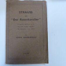 "STRAUSS ""der rosenkavalier"" a lecture HALIFAX MUSIC SOCIETY JOHN BARBIROLLI 1932"