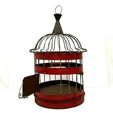 Vintage Round Wire Bird Cage w Red Patina, Swing, Perch and Feed Cup 1 of a Kind