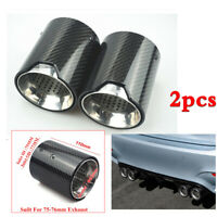 2pcs 75mm Glossy Real Carbon Fiber Car Exhaust Pipe End Tail Tip For BMW M5 F90