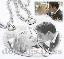 Custom Image Split Heart Couple Pendant Necklaces Christmas GIft Free Engraving