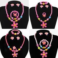 EE_ 5Pcs Charm Flower Necklace Bracelet Ring Ear Studs Kids Girls Jewelry Set Li
