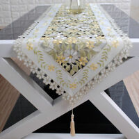 Oval Embroidery Floral Lace Dining Room Table Runner Christmas Xmas Party Cover