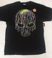 Men's T Shirt SKULL Size Medium, Glow In The Dark Purple Green Black