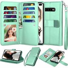 For Samsung Galaxy S10 S9 S8 S7 S20 Plus Note 10+ Leather Wallet Flip Case Cover