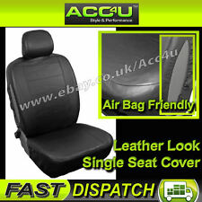 Car 4x4 MPV 7 Seater Airbag Friendly Plain Black Leather Look SINGLE Seat Cover