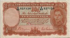 TMM* 1939 Banknote Cmwlth of Australia 10 Shilling P25a aVF