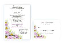 100 Personalized Custom Flower Gerber Daisy Bridal Wedding Invitations Set