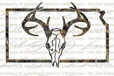 Camouflage Camo Kansas Buck Hunter Hunting Vinyl Decal Sticker Deer Skull Stag