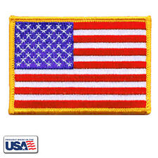 American Flag Patch Embroidered US Flag Patriotic Gold Border - Made in USA