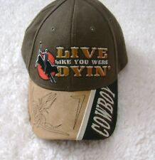 7c523c308b329d Bull Riding Cowboy Hat Cap Embroidered Adjustable Velcro Brown Suede Western