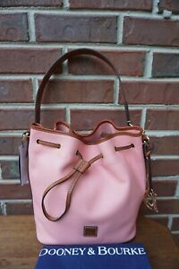 Authentic Dooney & Bourke Pale Pink Pebbled Leather Drawstring Bucket Bag --NWT