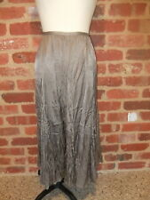 GORDON SMITH LADIES SIZE 12 BROWN PEWTER LONG CRUSHED FABRIC SKIRT A LINE PANELS